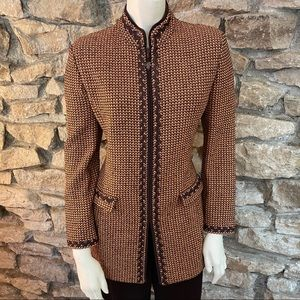 ST.JOHN BROWN Orange & Brown Jacket SIZE 6